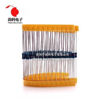 100pcs 1/4W 0R-22M 1% Metal Film Resistor 0.25W 0 2.2 10 100 120 150 220 270 330 470 1K 2.2K 4.7K 10K 100K 470K 1M 10M 20M ohms 3