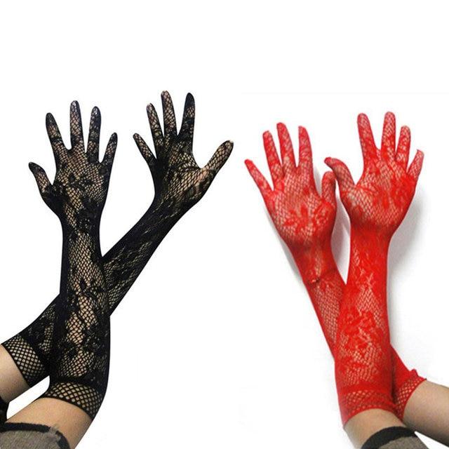 セクシーなランジェリーのためのロールプレイゲームレーストランスペアレントロングセックス手袋女性コスプレ花嫁エロ衣装フェチための大人のおもちゃ