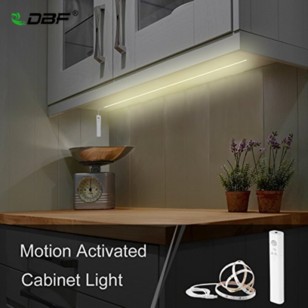 dbf under cabinet lighting battery operated usb rechargeable motion activated led strip lights kit for cabinet kitchen wardrobe