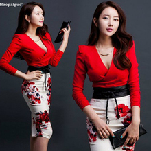 Plus Size Two Piece Set Women Suit Office Bandage Bodycon Party Sexy Vintage Skirt and Deep  V-Neck Red Tops 2