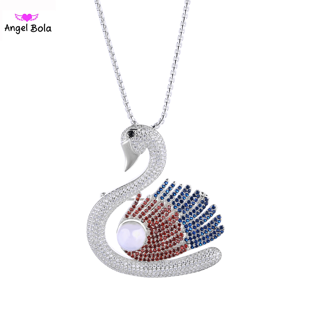 New Iced Out Jewelry AAA Zircon CZ with White Pearl Wedding Choker Necklace Women Swan Necklaces