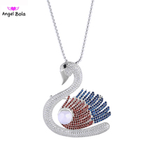 New Iced Out Jewelry AAA Zircon CZ with White Pearl Wedding Choker Necklace Women Swan Necklaces & Pendants PK-003