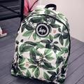 Women's Backpack Fashion Green Leaves Printing Female Backpack Student School Bag Casual Shoulder Bag For Teenagers Girls