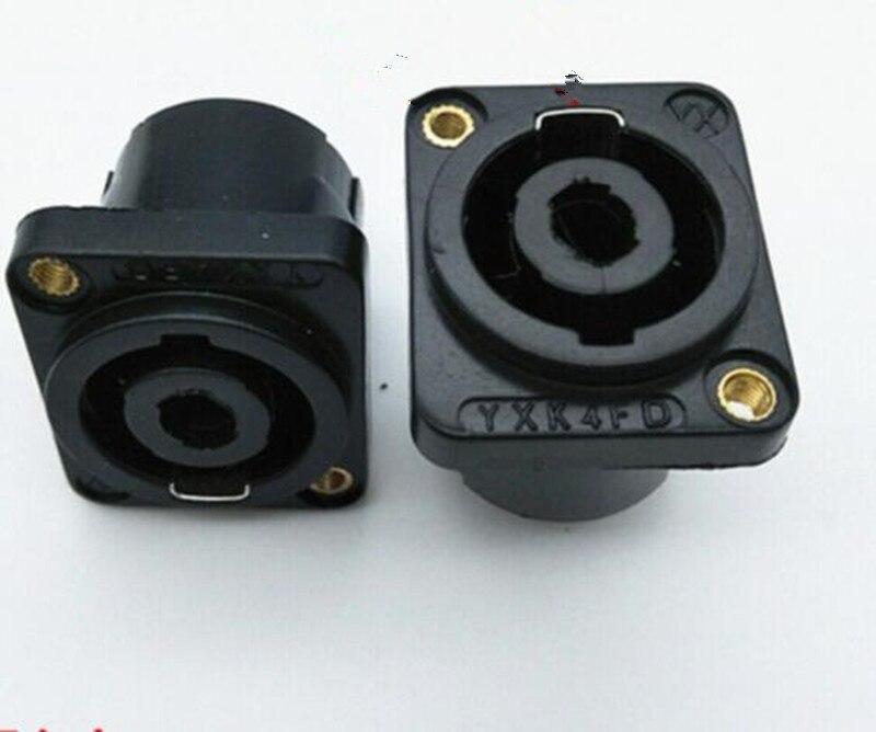 US $6 19 9% OFF|10pcs Four core speaker audio professional socket female 4  core audio cable connector amplifier Nongnong Ohm plug-in Connectors from
