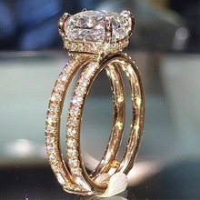 Luxury Female Big Crystal Zircon Stone Ring Cute 14KT Yellow