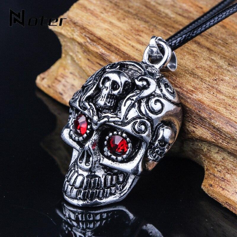 Punk Rock Schädel Halskette Männer Gothic Skeleton Halsketten & Anhänger Charm Halskette Männlichen Zubehör Kurze Halskette Geschenk Für Ihn