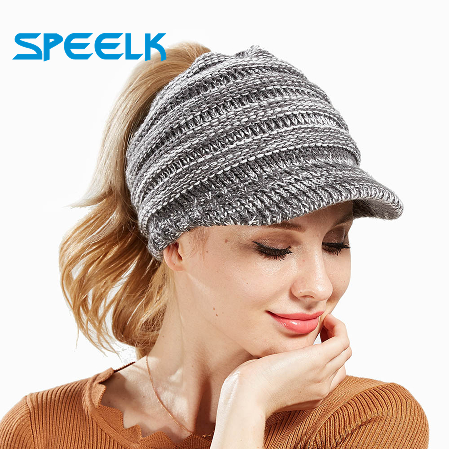 2019 Ins New Women's Knit Visor Caps open Top Ponytail Hat Men and Women Ski Sports Knitted Cap Fashion   Beanie   Hats Wholesale