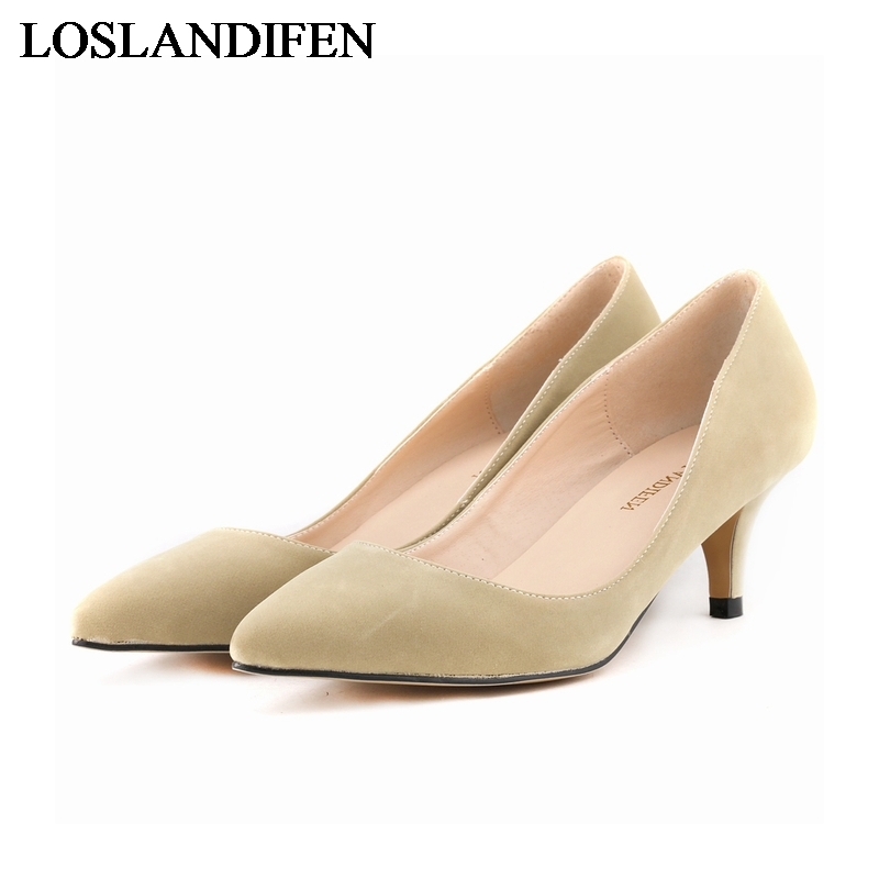 2018 Women Shoes Sexy Suede High Heels Pointed Toe Fashion Style Work Shoes Pumps For Women Thin Heel Pumps Big Size NLK-A0027 pointed toe high heels nubuck leather winter deep mouth thin heel big size mature leopard print stilletos shoes for women