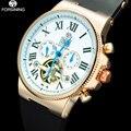 2017 forsining homens mecânicos turbilhão automático relógios marca de luxo moda casual calendário ouro rosa relógios de pulso de borracha