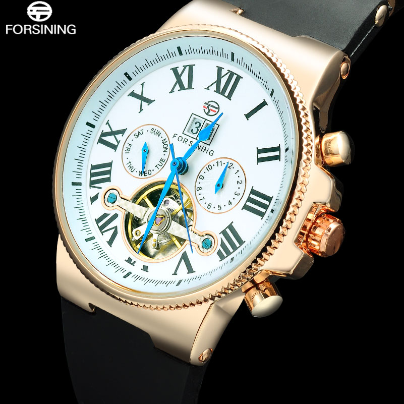 FORSINING 2017 Men Mechanical Tourbillion Automatic Watches Luxury Brand Fashion Casual Calendar Rose Gold Rubber Wristwatches forsining new watches men gold rose tourbillion automatic mechanical watch wristwatch with gift box