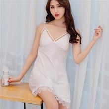2019 New Lace Sleepwear chest pad Womans Lingerie Sleepshirt Satin Nighty Night Shirt Nightwear Sleeping Pink Black White