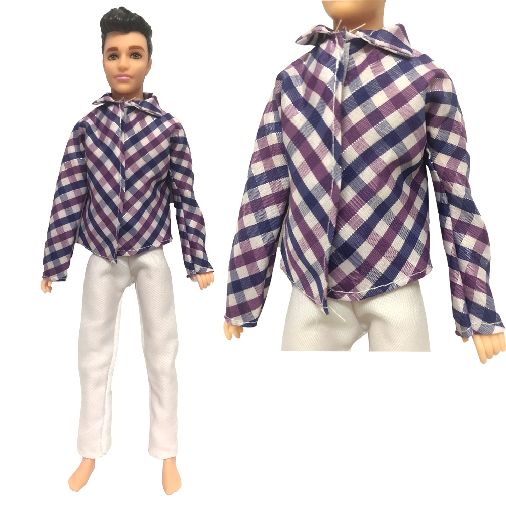 Homemade Doll Clothes-Solid Lavender Colored Shirt that fits Ken Doll B8