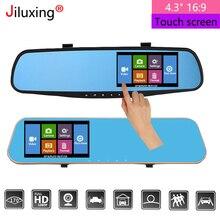 """Jiluxing Dash Cam 4.3 """"1080 P Car mirror DVR Dual Lens Video Recorder Monitor di Parcheggio macchina Fotografica di retrovisione specchio Auto Registrar"""