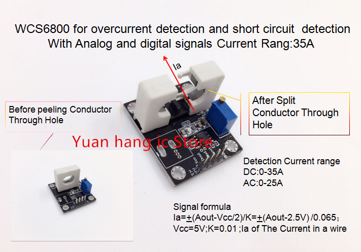 WCS6800 For Overcurrent Detection And Short Circuit Detection With Analog And Digital Signals Current Rang:35A 0.065V/1A