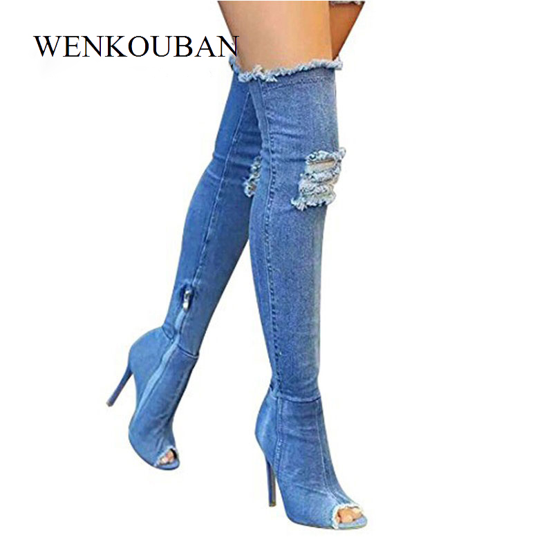 Sexy Shoes Women High Heels Thigh Boots Denim pumps shoes ladies Peep Toe Zip Female Stiletto Over The Knee Boots Zapatos Mujer hot boots women sexy black thigh high boots peep toe soft leather back zip high heels over the knee boots gladiator sandal boots