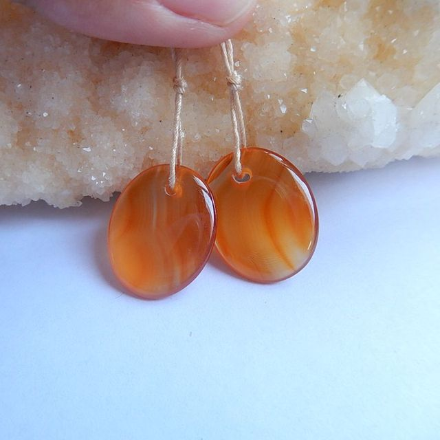Natural Stone Oval Shape Red Agate Earring Beads 21x17x4mm 4 6g Fashion Jewelry Women Earrings Accessories