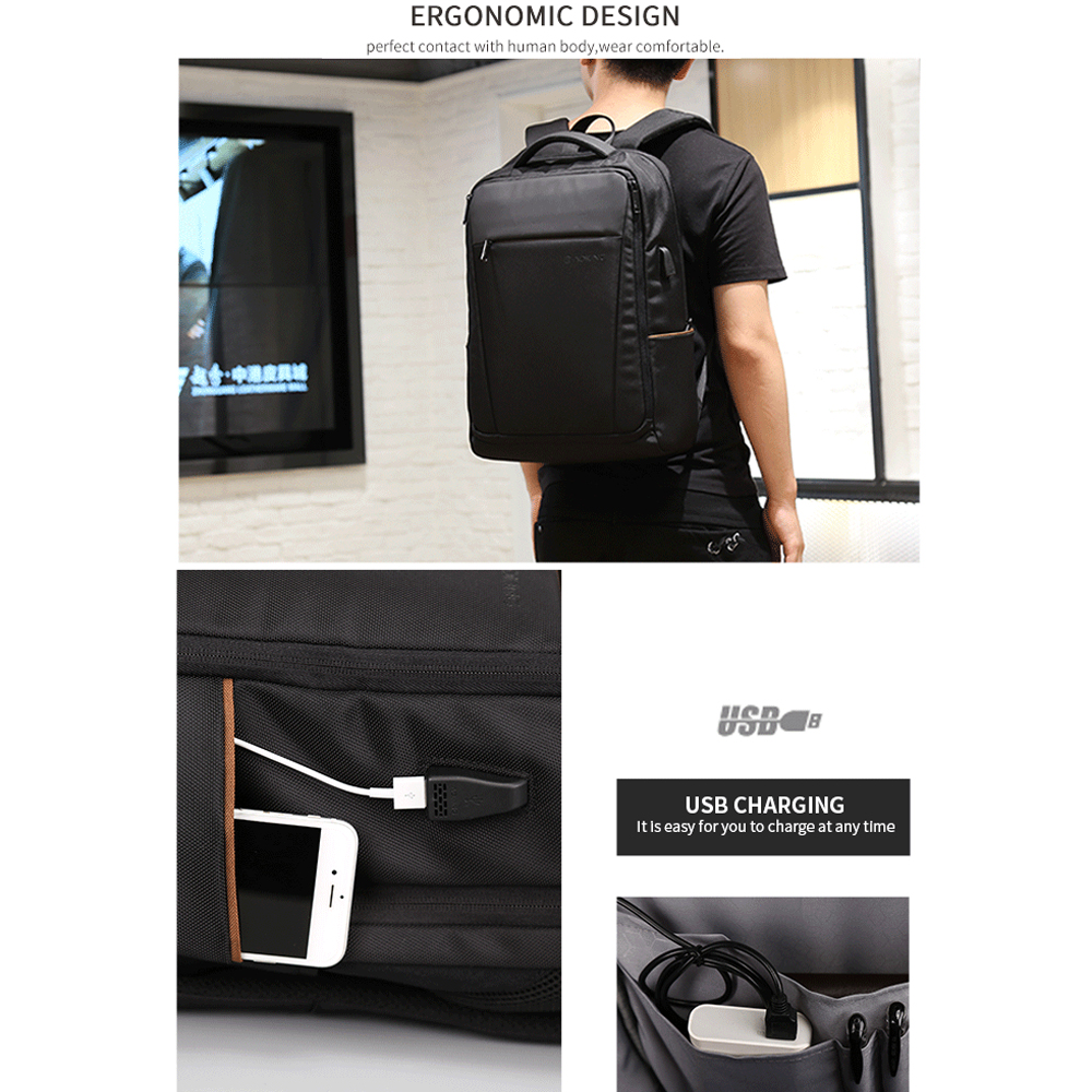 """Aokong Brand Black Backpack Waterproof Men's Travel Bags with USB Port Fashion Business backpack Fits 15.6"""" Laptop for Teenager-in Backpacks from Luggage & Bags    2"""