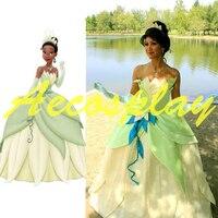 Damskie Kostiumy Dla Dorosłych Kobiet Księżniczka i Żaba, Tiana Księżniczka Kostium Cosplay Zielony Księżniczka tiana Cosplay Costume