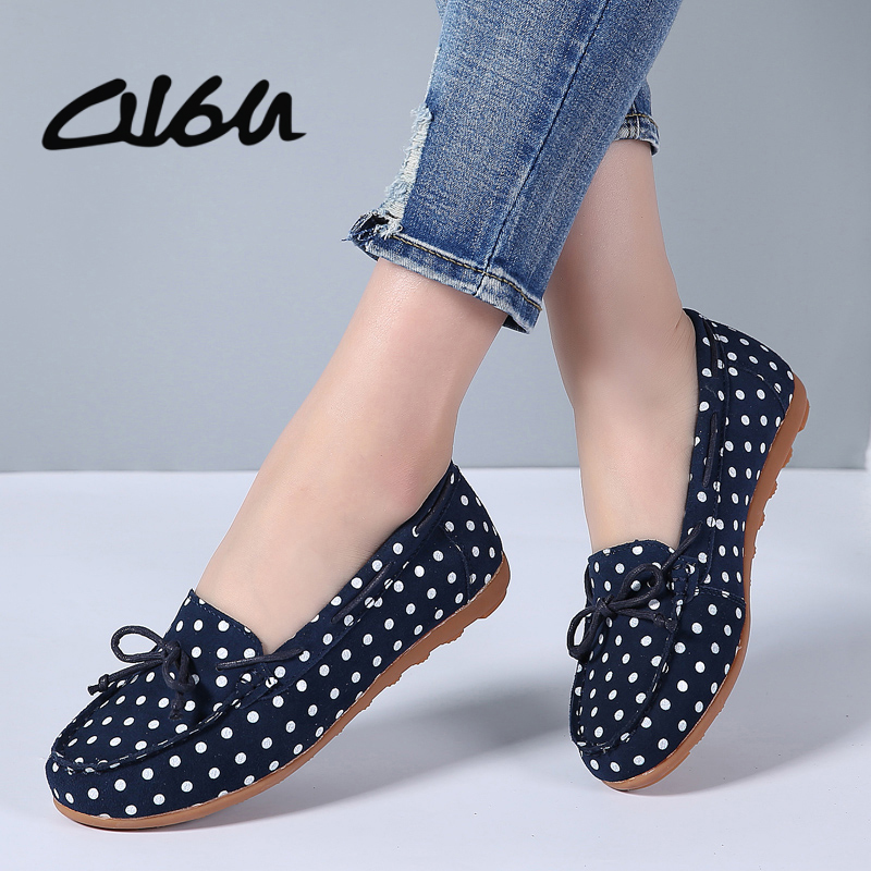 O16U Women ballet flats round toe   Leather   polka dot slip-on soft comfortable Summer Ladies loafer shoes pink yellow blue black