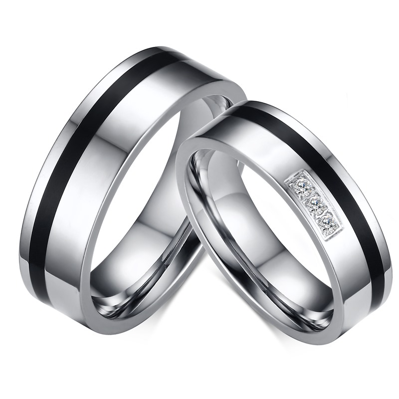 meaeguet 1pc his and her wedding band anniversary engagement rings bridal stainless steel cubic zirconia bague - Cheap His And Hers Wedding Rings
