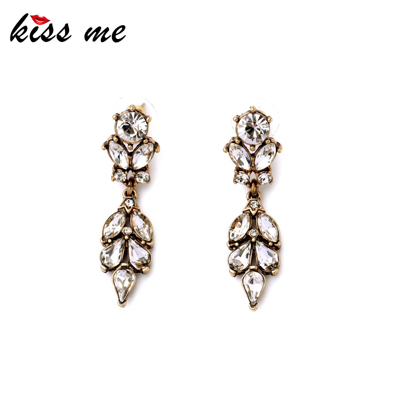 Summer New Inlay Crystal Flowers Gold Color Earrings Vintage
