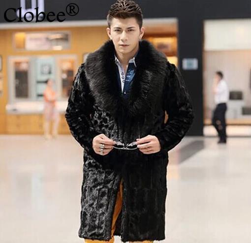 Kunstpelzmäntel 2019 Parka Winter Herren Faux Nerz Outwear Jaqueta Masculina Lange Chaqueta Cuero Hombre Schwarz Nachahmung Fuchs Pelz Kragen D48 Schrumpffrei