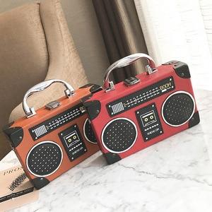 Image 5 - Retro radio box style pu leather ladies handbag shoulder bag chain purse womens crossbody messenger bag flap