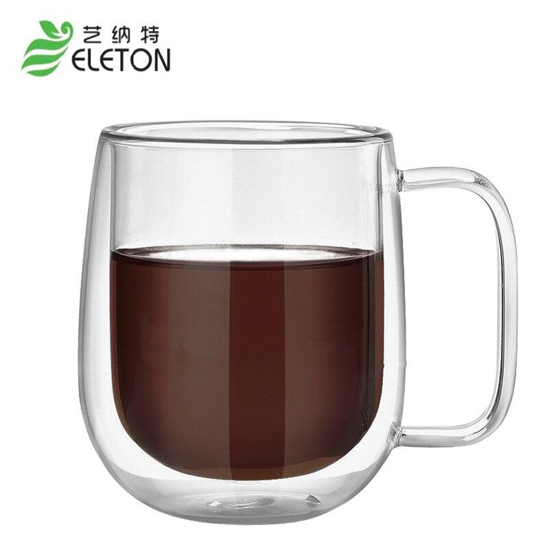ELETON 단열 이중층 유리 컵, 커피 컵, 고 붕규산 유리, 고온 단열 컵 음료 용기