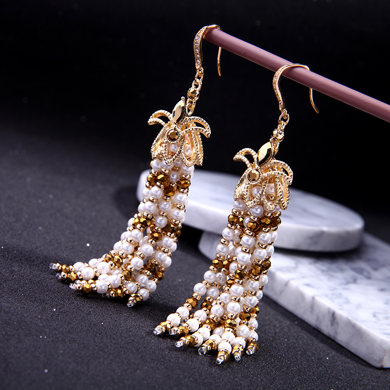 Vintage Gold Color Tassel  Earrings Women Statement Indian Jewelry Simulated Pearl Fringe Pending Chunky Earrings Brincos