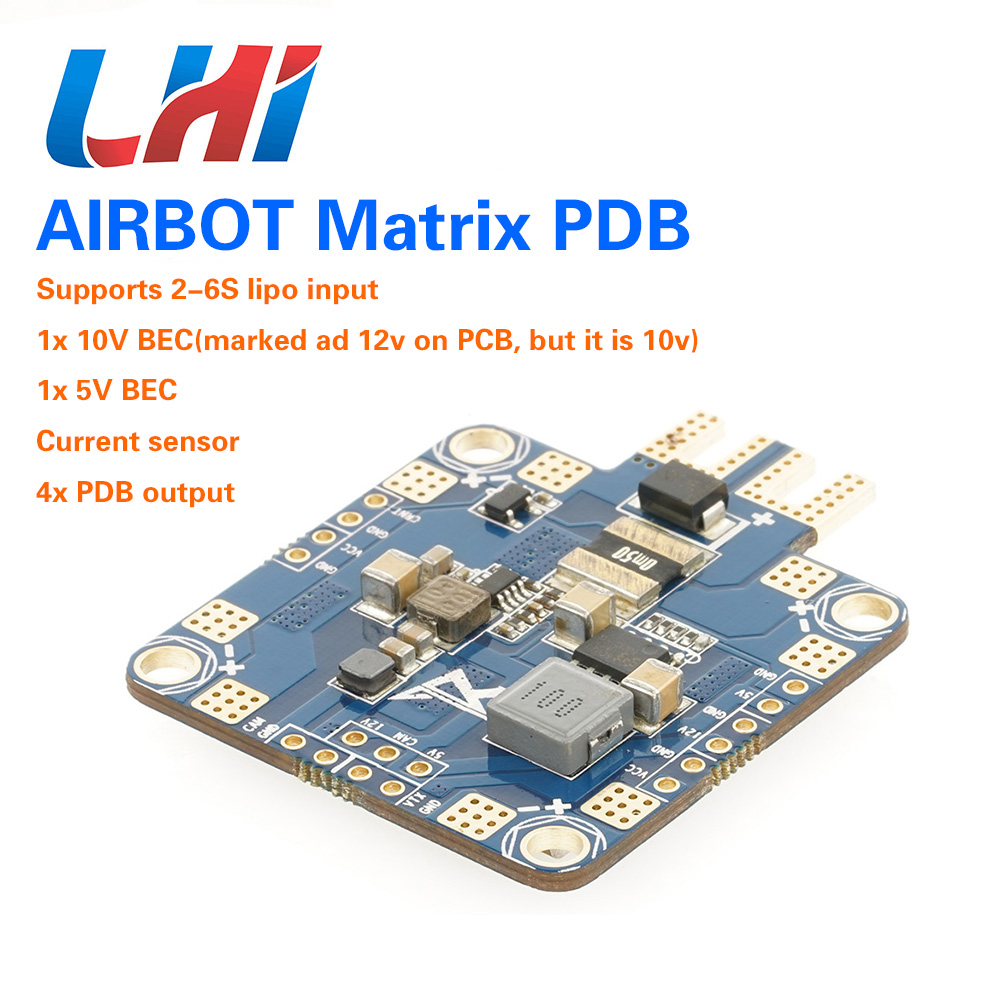 AIRBOT 2x BEC Current Sensor PDB with 4800uf Capacitors, improve ESC performance and cancelling Power Noise for FPV quadcopter