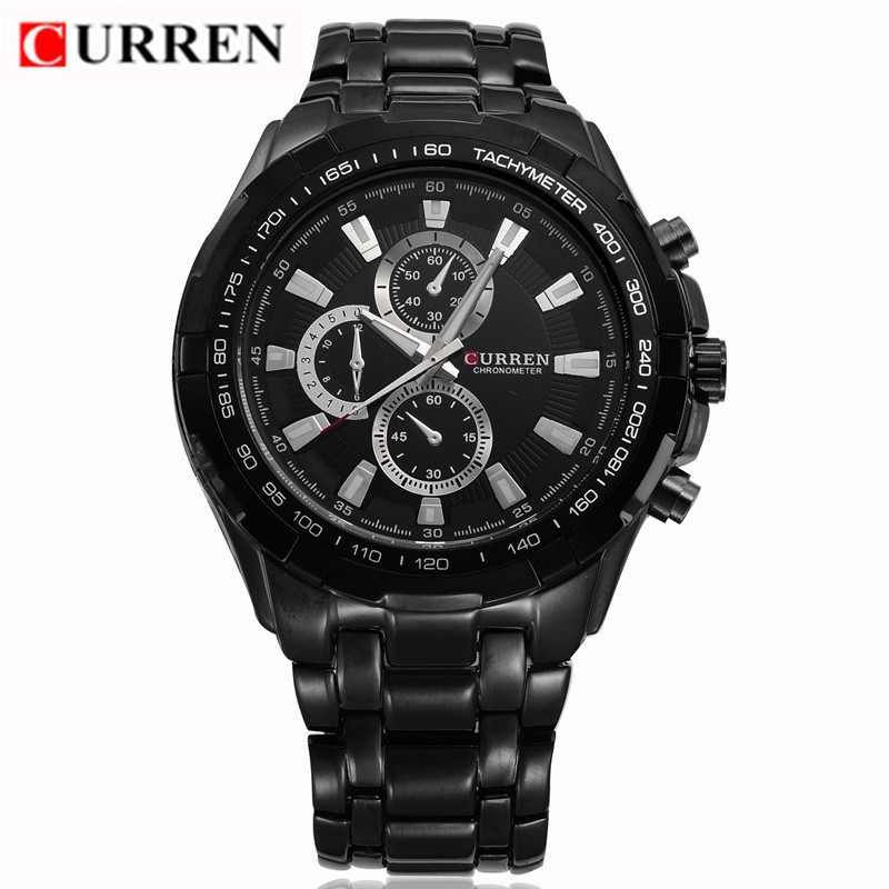 Curren 8023 Mens Watches Top Brand Luxury Black Steel Quartz Men Watch Fashion Casual Military Sport Male Clock Wristwatch Reloj new fashion men business quartz watches top brand luxury curren mens wrist watch full steel man square watch male clocks relogio
