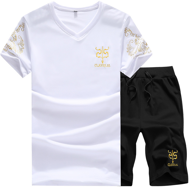 Two Piece Set Men Short Sleeve T Shirt Top+Shorts Men's Tracksuits 2019 New Causal Men's Sports Suit Tops Short Trousers