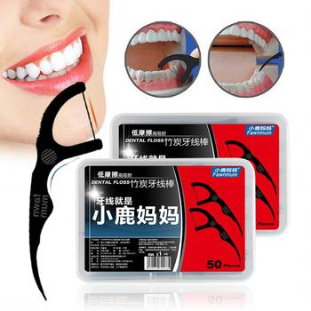 Y&W&F 50pcs/Set Dental Floss Black Bamboo Charcoal Teeth Stick Interdental Brushes Oral Clean Toothpick Tool With Box