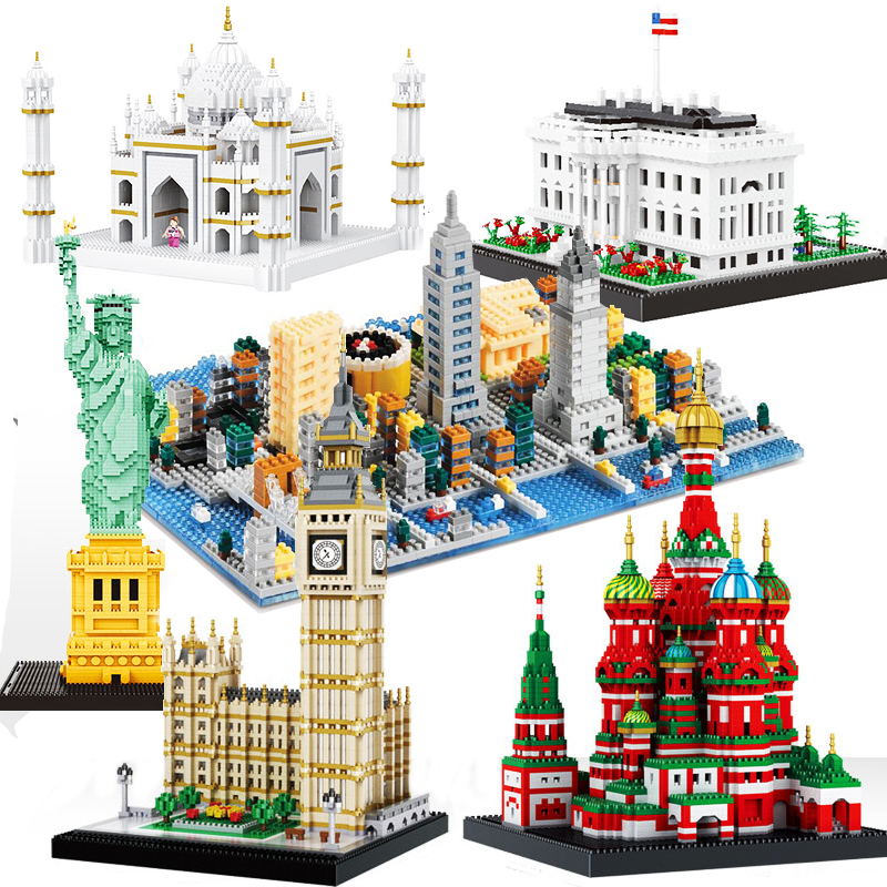 Diamond Architecture Taj Mahal Big Ben White House Statue Liberty America Pair London Model Building Block Construction toys(China)