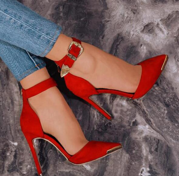 New Fashion Red Suede Leather Women Pointy Toe Pumps Carved Gold Buckles Ladies Sexy High Heels Elegant Grey Female Dress Shoes