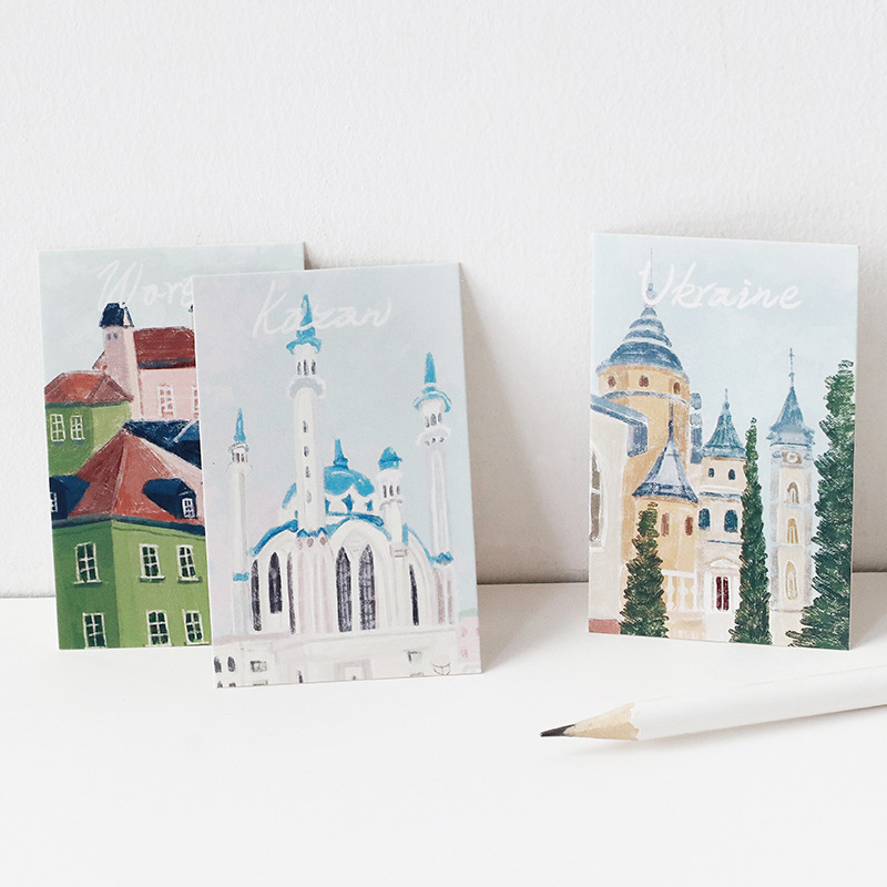 5.2*8cm 27pcs Mini Card Hand painted view style Scrapbooking Craft Paper card DIY gift  Decoration card message card