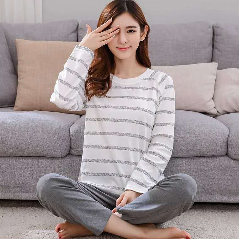Women   Pajamas     Sets   Summer Long Sleeve Cartoon Print Cute Loose Sleepwear Girl Pijamas Mujer Leisure Nightgown Women Pyjamas Pj