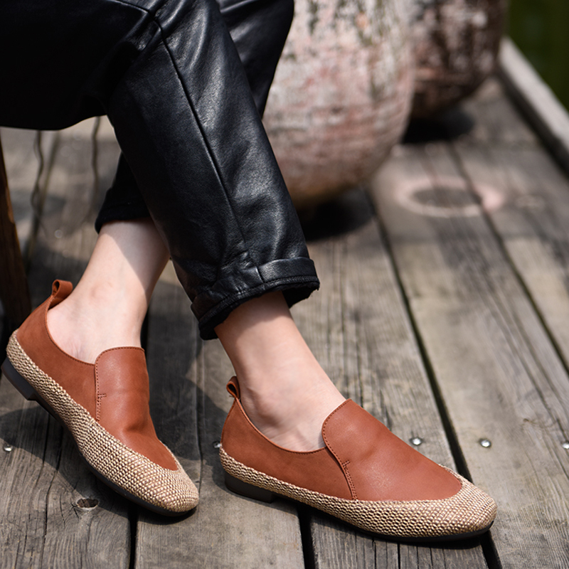 Artmu Original Fisherman's Shoes 2018 New Korean Flax Retro Flat Sole Genuine Leather Shoes Handmade Soft 9728 20-in Women's Flats from Shoes    1