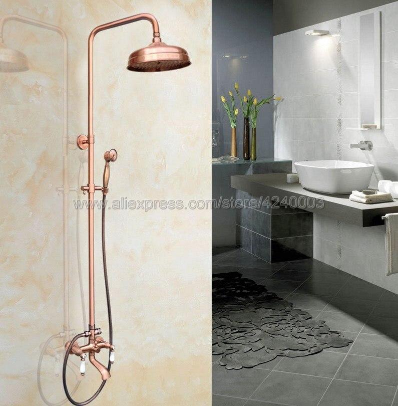 Bronzo rame testa rotonda soffione doccia a pioggia soffione doccia bagno hardware rosso 8 pollici 1 pezzo