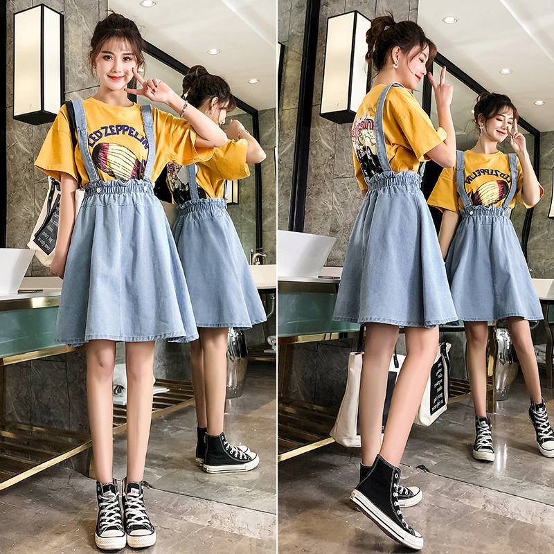 Ailegogo Women Denim Mini Strap Skirt Casual Solid Color Ruffles Suspenders Skirts Light Blue A-line Skirts Female