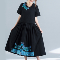 Chinese Style Embroidered Flowers Loose Women Black Dress Short Sleeves Dragon Long Summer Dress