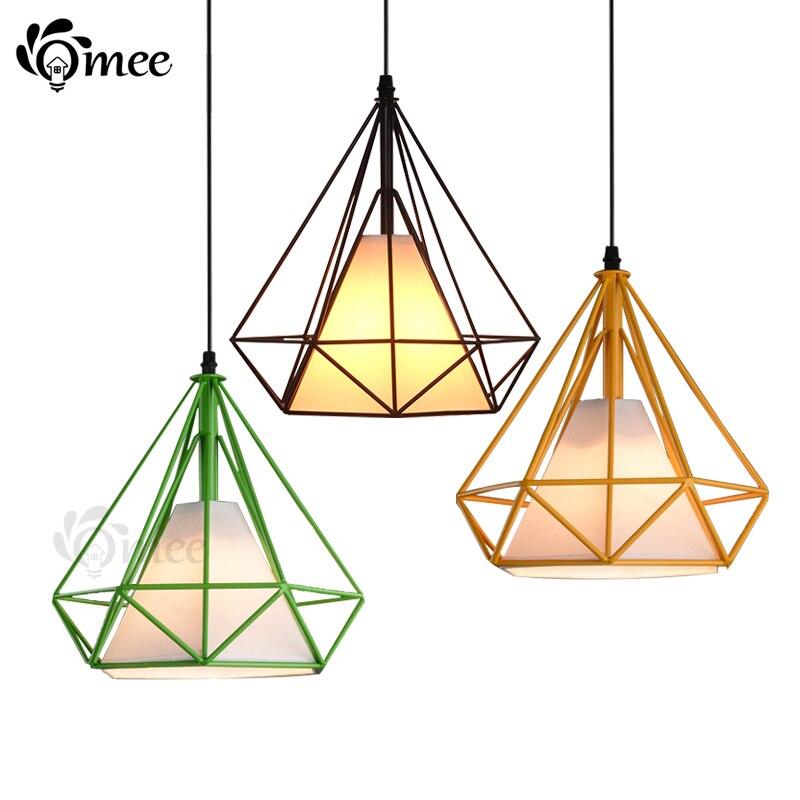 Colorful Birdcage Pendant Lamp Scandinavian Modern Minimalist Art Pyramid Iron Light Diamond Creative Restaurant Lights
