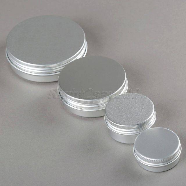 10PCS Aluminium Cosmetic jar 15g 30g 60g 100g Metal Cream Jars screw lid Silver tin ointment container bottle candle can box