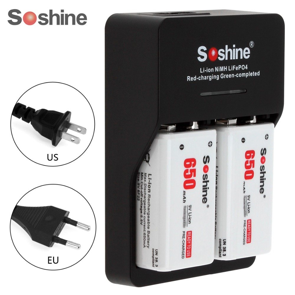 2pcs Soshine 9V 6F22 650mAh High Capacity Li-ion Rechargeable Battery + 9V Smart Charger with LED Indicator 4pcs soshine 650mah 9v 6f22 li ion rechargeable battery with portable battery box for multimeter wireless microphone alarm
