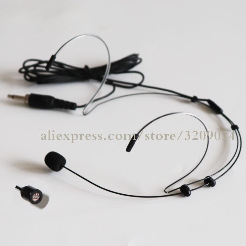 Pro 3.5mm Male Screw Thread Plug Dual Earhook Headworn Headset Microphone Headband Mic Karaoke Wireless Bodypack Transmitter