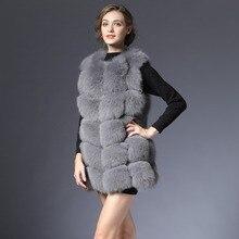 Новый натуральный мех жилет Для женщин зима черный серый Фокс жилет натуральный жилет 70 см натуральной меховой жилет для женский Для женщин DHL