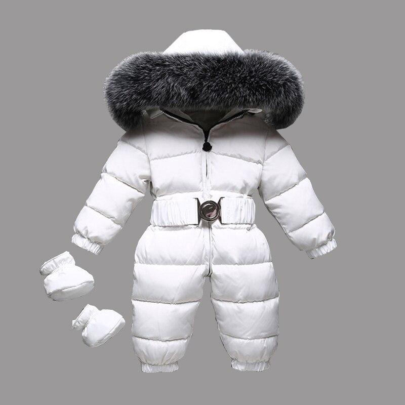 Dollplus/2018 Зимние теплые детские комбинезоны пуховые детские комбинезоны Дети мальчики девочки мех комбинезон с капюшоном одежда