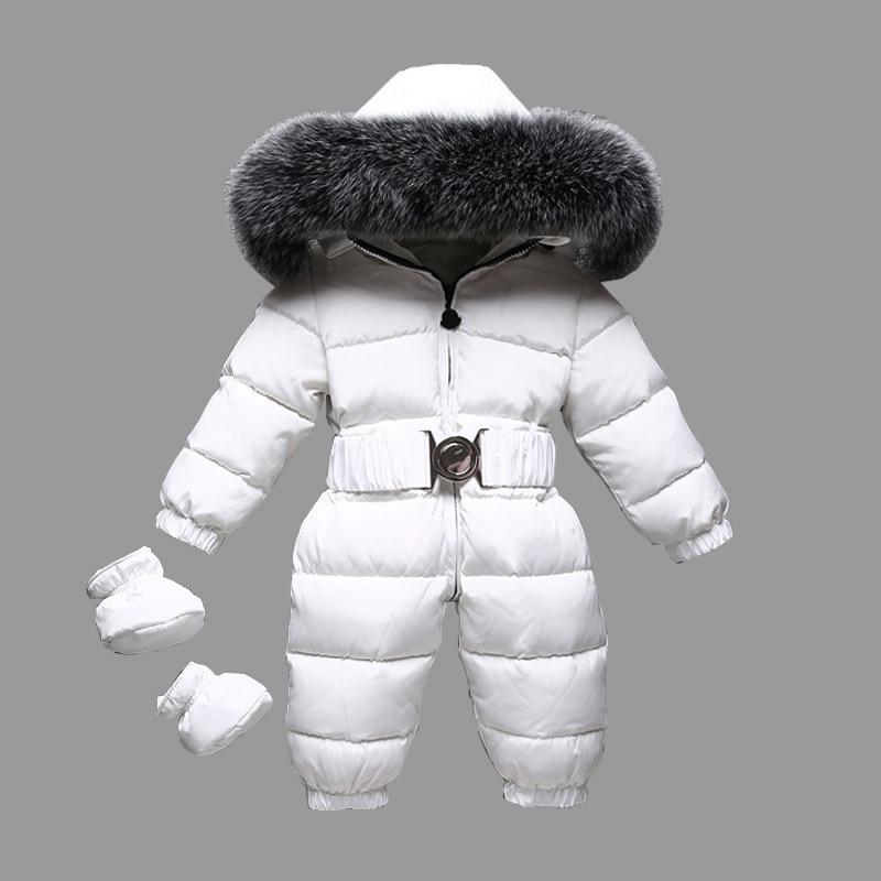 Dollplus 2018 Winter Warm Baby Rompers Jumpsuit Children Duck Down Overalls Toddler Kids Boys Girls Fur