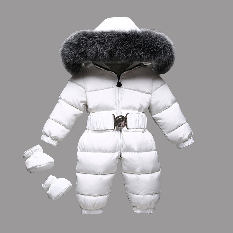 Dollplus 2019 Winter Warm Baby Rompers Jumpsuit Children Duck Down Overalls Toddler Kids Boys Girls Fur Hooded Romper Clothes