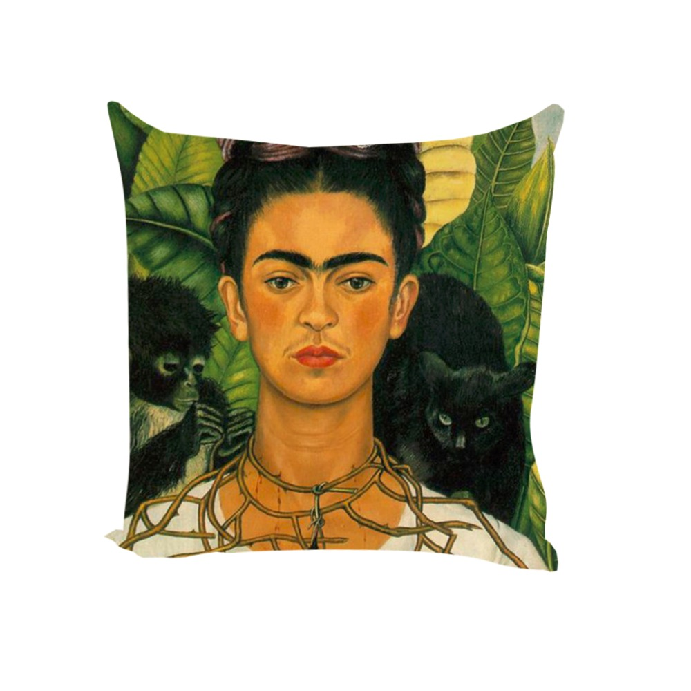 Top Cushion Cover Frida Kahlo Pillow Case Firm Flower Butterfly Throw  YZ45